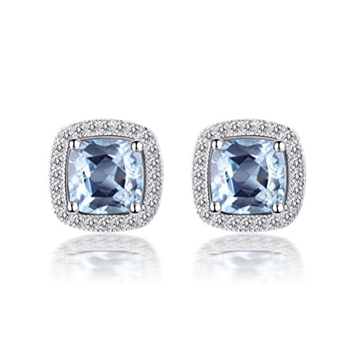 YAN & LEI Sterling Silver Square Sapphire Blue Genuine Topaz Gemstone Stud Earrings with CZ Halo Paving