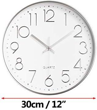 ALEENFOON 12 Pouces Horloge en Bois Murales Silencieuse de Salon Cuisine Modernes Design Pendules Murales 30cm Horloge /à Quartz Suspendue Horloge Murale Horloge de Table Analogique Blanc