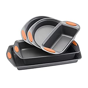 Rachael Ray 55673 Nonstick Bakeware Set with Grips includes Nonstick Bread Pan, Baking Pans and Cake Pans – 5 Piece, Gray with Orange Grips
