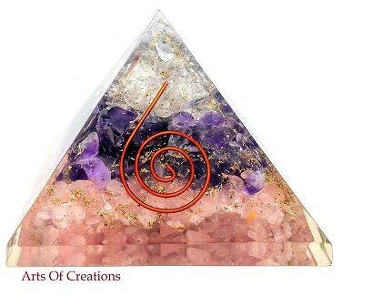Arts Of Creation Rose, Amethyst, and Crystal Quartz Orgone Reiki Pyramid Kit Crystal Quartz Energy Points/EMF Positive Wabes ()