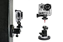 Action Mount® | Rubber Coated Magnetic Camera & Phone Mount w/Ball Head for GoPro, Sports Camera, or Phone. Great for Video, Pictures, Livestreaming, or WOD. (XL Rubber Coated Magnet)