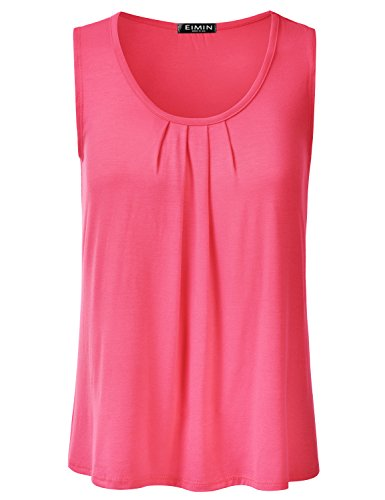 EIMIN Women's Pleated Scoop Neck Sleeveless Stretch Basic Soft Tank Top Coral M ()
