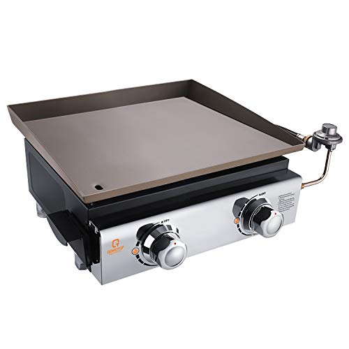 QOMOTOP Tabletop Propane Gas Grill, 18 Inch Outdoor Griddle with 2 Burners, 17000 BTU, 282 Square-Inch Cooking Area, Flat Top Grill Suitable for Outdoor Cooking While Camping, Tailgating or Picnicking