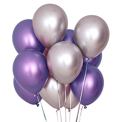 Juland 50 PCS Metallic Party Balloons Glossy Metal Pearl Latex Balloons 12'' Thick Pearly Chrome Alloy Inflatable Air Balloons for Birthdays, Bridal Shower - Purple and Silver