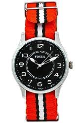 Fossil Men's FS4528 Sport Orange Nylon Strap Black Dial Watch