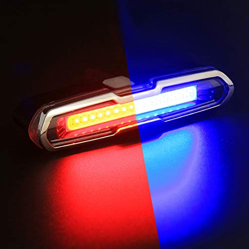 TOOGOO USB Rechargeable Front Rear Bicycle Light Lithium Battery LED Bike Taillight Cycling Helmet Light Lamp Mount Bicycle Accessories Red Blue Light Color White