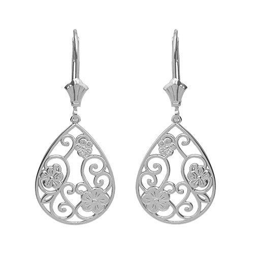 Gold White Filigree Earrings (Solid 14k White Floral Filigree Teardrop Dangle Earrings)