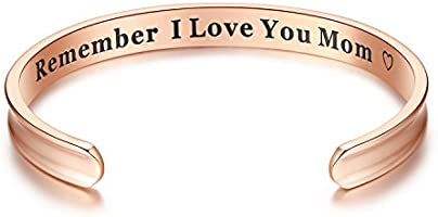 For Mother's Day Gifts - 'Remember I Love You Mom' Cuff Bangle Bracelets Jewelry for Women, Birthday Gifts for Mom from Daughter Son, Thanksgiving, Christmas, Anniversary Day Gifts (Rose Gold)