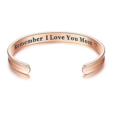 For Mother's Day Gifts - 'Remember I Love You Mom' Cuff Bangle Bracelets Jewelry for Women, Birthday Gifts for Mom from Daughter Son, Thanksgiving, Christmas, Anniversary Day Gifts (Rose - Mom Jewelry
