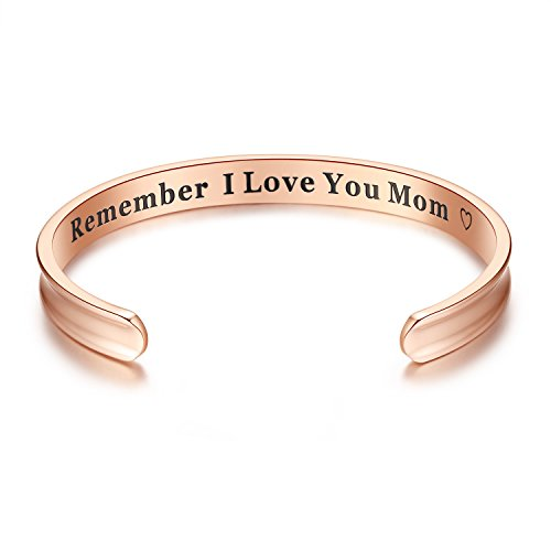 Milamiya Remember I Love You Mom' Cuff Bangle Bracelets Jewelry for Women, Birthday Gifts for Mom from Daughter Son, Thanksgiving, Christmas, Anniversary Day Gifts (Rose Gold)