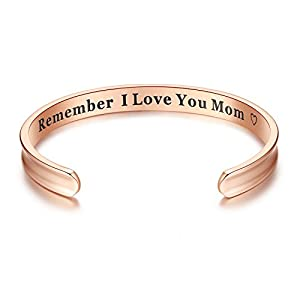 For Mother's Day Gifts – 'Remember I Love You Mom' Cuff Bangle Bracelets from Mom and Daughter Birthdays