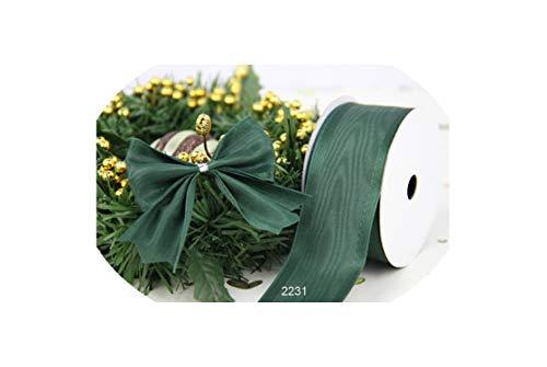 38Mm X 25Yards Dk Green Moire Satin Taffeta Ribbon Gift Box Wraing Wired Edge Ribbon