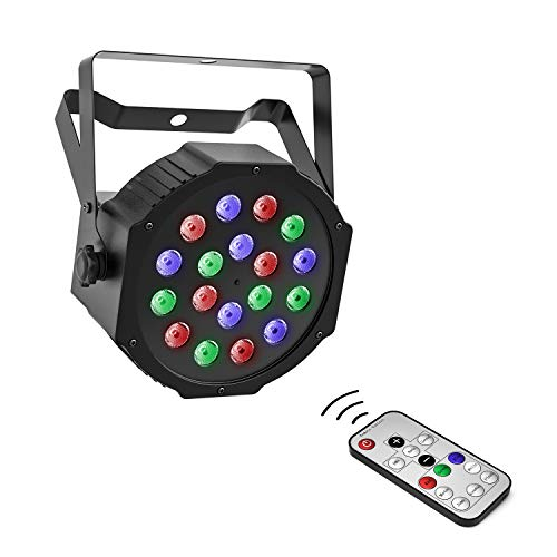 Moukey 18 LEDs Stage Light, RGB DJ Par LED Lights with Built-In Cooling Fan & Remote Control/DMX for Dancing Lighting, Wedding, Church, Birthday Gift, Christmas Party, Music Live Show