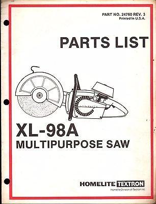 HOMELITE MULTIPURPOSE SAW XL-98A PARTS MANUAL P/N 24760 REV 3 (227)