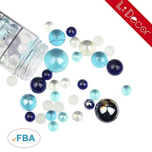 Home Decor Glass Marbles Mixed Blue 1.3 Pounds Bottle Non-Toxic Aquarium Decor Party Decor Birthday Decor Flowerpot Decor Table Scatter Fish Bowl Beads Vase Fillers Colorful Smooth Fun ()