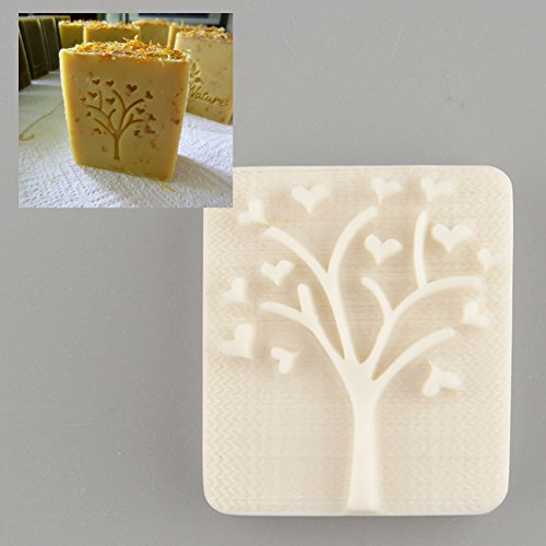 Heart Tree Design Handmade Yellow Resin Soap Stamp Stamping Soap Mold Craft