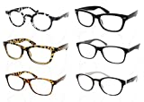 6-Pack High-Quality Fashionable Classic Reading Glasses with Case, +1.00 Unisex Reader Glasses - Leave One In Each Room