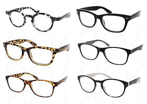 6-Pack High-Quality Fashionable Classic Reading Glasses with Case, +1.00 Unisex Reader Glasses - Leave One In Each - Fix Glasses Arm