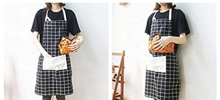 Crafting Prewinshop Cotton Adjustable Buffalo Check Plaid Apron with Pocket BBQ Black Baking Gardening Men and Women Kitchen Apron for Cooking