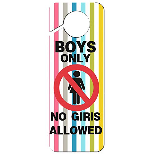 Remember Boys Only No Girls Allowed Plastic,Door Handle Hook Sign,Room Service,Motel,Hotel,Nursing is in Dog Door Hanger ()