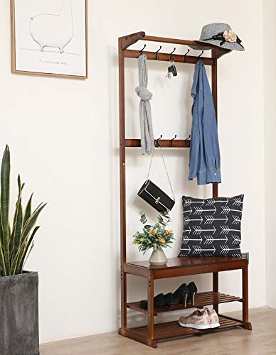 SeiriOne Bamboo Coat rack Shoe Bench,Hall Tree Entryway Shelf, 20 Hooks, 1 Storage Organizer,Easy Assembly