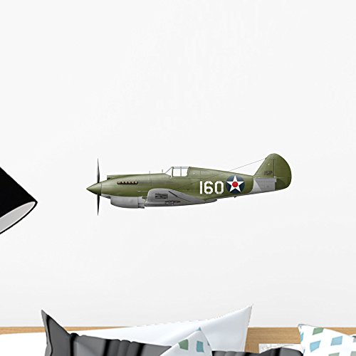Illustration Curtis P-40 Warhawk Wall Decal by Wallmonkeys Peel and Stick Graphic (18 in W x 7 in H) WM36119