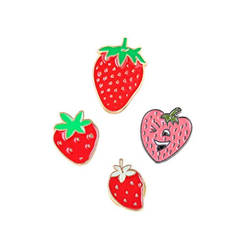 (Dedila 10PCS Women Girls Cute Cartoon Strawberry Pin Set Sweet Fruit Brooch Pins Badges for Clothes Bags Backpacks- Mixed Four Styles (Strawberry Pin))
