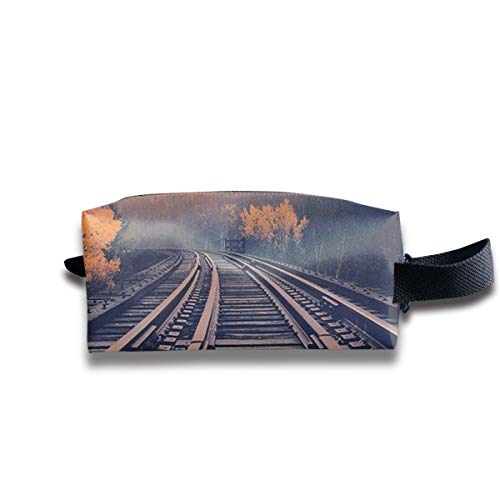 Clash Durable Zipper Wallet Makeup Handbag With Wrist Band Railroad Toiletry -
