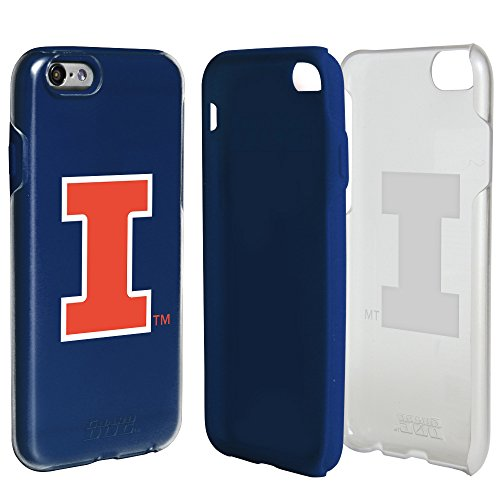 Illinois Fighting Illini Clear Hybrid Case for iPhone 6/6s with Dark Blue Insert and Guard Glass Screen Protector