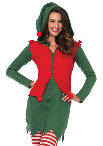Leg Avenue Women's Cozy Santa's Elf Christmas Costume, Green/Red, Medium -