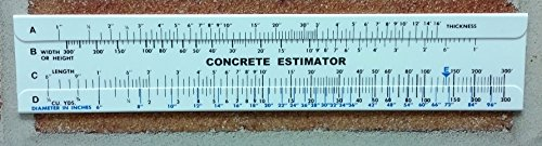 Concrete Estimator Slide Ruler 300 Yard Volume Calculator (Estimator Ruler)