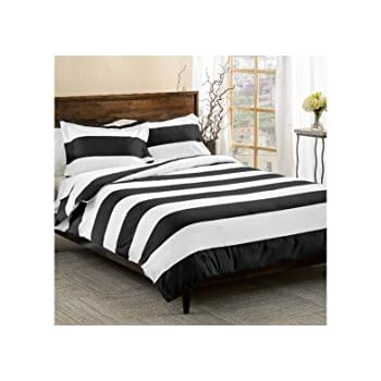 2 piece black white rugby stripes duvet cover twin set cabana striped bedding hotel like