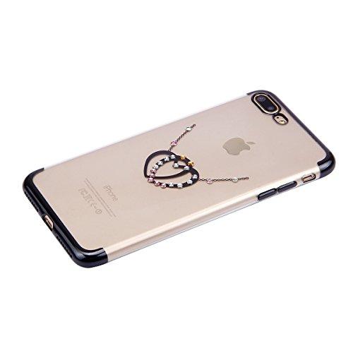 Funda iPhone 7 plus,SainCat Moda Alta Calidad suave de TPU Silicona Diseño pintado Patrón para Funda TPU Silicona Flexible Ultra Delgado Ligero Goma Case Cover Caja Suave Gel Shock Absorción Anti Rasg Negro-Doble amor