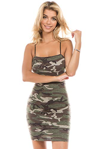 Onue Collection Women's Camo Tube Top Bodycon Mini Dress with Full Lining, Small, Camo