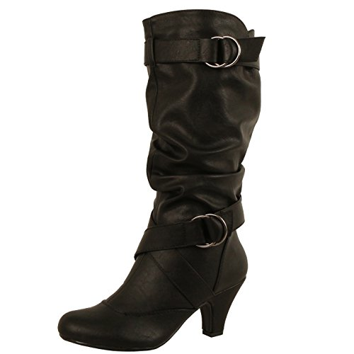 Slouchy Mid Calf Boots (Guilty Shoes Winter Mid Calf - Strappy Slouchy Buckle - Low Kitten Heel Boots, 39 Black PU, 5.5)