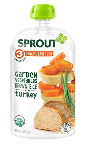 Sprout Organic Baby Food Stage 3 Pouches, Garden Vegetables Brown Rice with Turkey, 4.5 Ounce (Pack of 5) (Brown Rice Protein Concentrate compare prices)