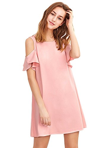 - Milumia Women's Summer Cold Shoulder Ruffle Sleeves Shift Dress Pink L