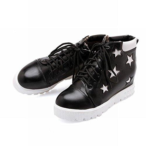 Carolbar Mujeres Lace Up Star Shaped Pattern Hidden Wedge Heel Zapatillas Moda Negro