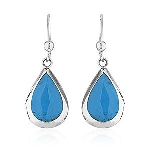925 Sterling Silver Reconstructed Turquoise Gemstone Pear Tear Drop Dangle Earrings