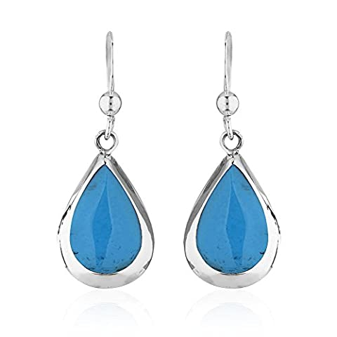 925 Sterling Silver Blue Reconstructed Turquoise Gemstone Pear Tear Drop Dangle Earrings - Turquoise Tear