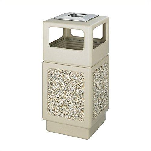 Safco Products 9473TN Canmeleon Aggregate Panel Trash Can, Ash Urn/Side Open, 38-Gallon, Tan (Stone Aggregate Panel)