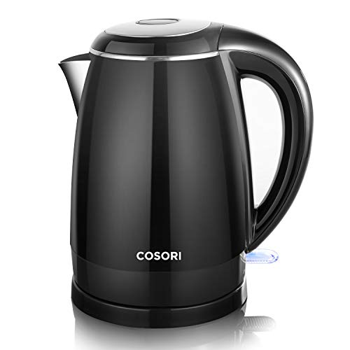 COSORI Electric Kettle, 1.8 Qt Double Wall 304 Stainless Steel Hot Water Boiler Heater & Tea Pot Kettle, Auto Shut-Off and Boil-Dry Protection, Cordless, FDA/ETL/CETL Certified, 2 Year Warranty