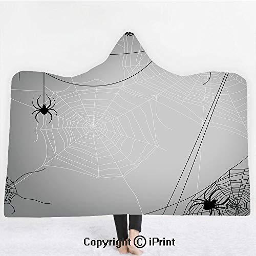 "Spider Web 3D Print Soft Hooded Blanket Boys Girls Premium Throw Blanket,Spiders Hanging from Webs Halloween Inspired Design Dangerous Cartoon Icon Decorative,Lightweight Microfiber(Kids 50""x60"")Grey ()"