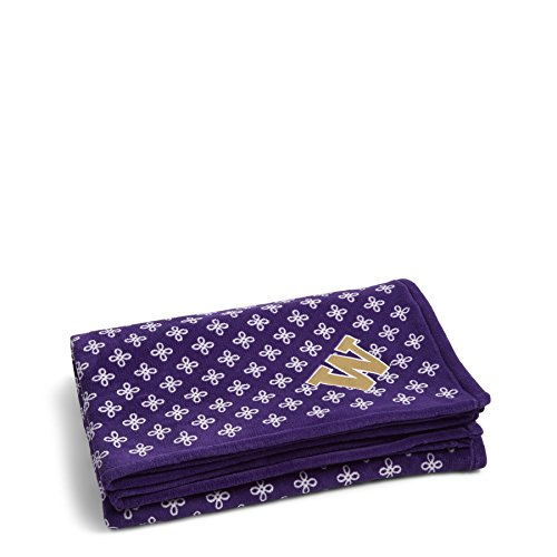 Vera Bradley NCAA Washington Huskies Women's Throw Blanket, Purple/White, (Washington Huskies Fleece Throw)