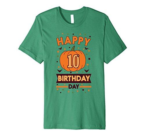 Mens Happy 10th Birthday Pumpkin Halloween Shirt Girls Boys Gift 3XL Kelly Green