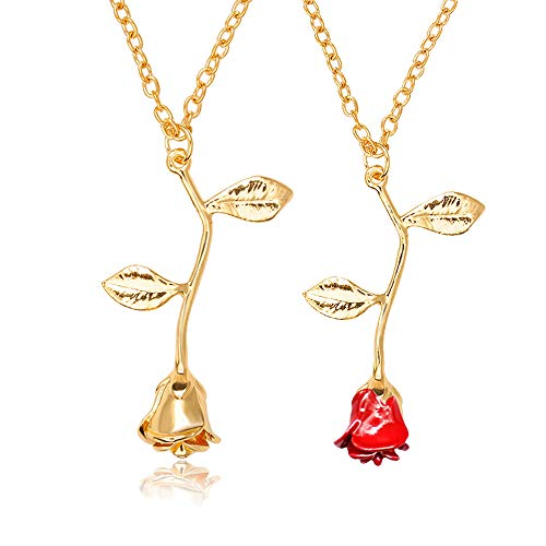 choice of all 3D Rose Flower Pendant Necklace,Charm Gold Silver Personalized Red Rose Statement Necklace for Women Girls (G:Gold Set)