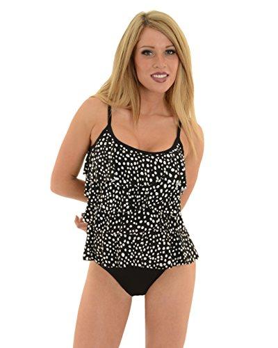 Womens Miraclesuit Swimwear Polka Dot Swimsuit 2 Piece Tankini Bikini Bottoms Sizes: 14 (Piece Tankini Two Miraclesuit)