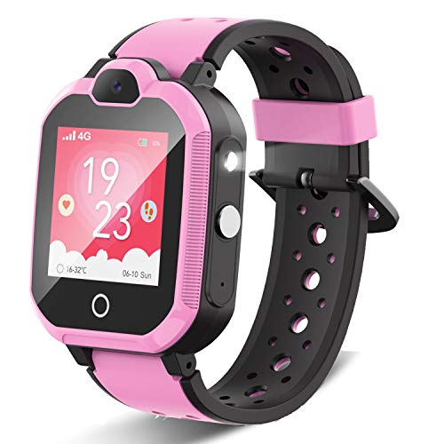 4G Kids Smartwatch, Child GPS Tracker Watch with SOS/Video Chat/2-way Call/Bluetooth/WiFi/Flashlight, Waterproof Phone Watch for Girl Birthday Gift(Pink)
