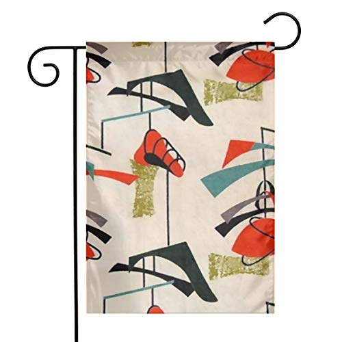 QUZtww Mid Century Modern Atomic Mobile Pattern Polyester Garden Flag Reusable Festive Seasonal Holiday St Patrick's Day Decorative Banner for Mail Box Size 12 * 18 -