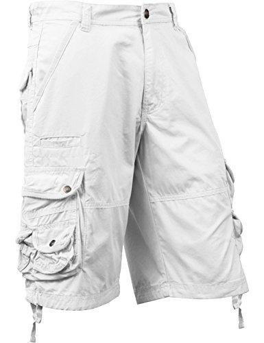 Mens Premium Cargo Shorts Loose Fit Twill Cotton Multi Pocket Outdoor (40, 1SM0001_White) ()